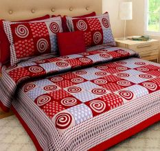Cotton Double Bedsheet with 2 Pillow Covers - Multicolor