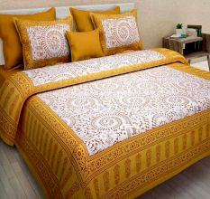 Cotton Double Bedsheet with 2 Pillow Covers - Yellow