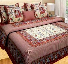 Cotton Double Bedsheet with 2 Pillow Covers - Maroon