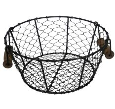 Black Iron Wire Basket With Wooden Handle