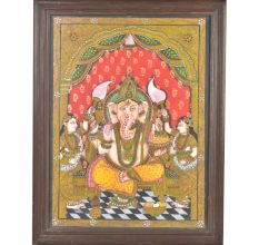 Lord Ganesha With Ridhi Siddhi Tanjore Painting