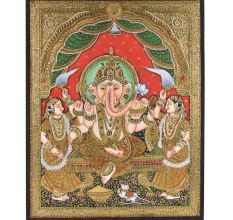 Decorative Ganesha With Riddi Siddhi Tanjore Painting