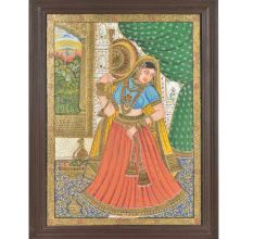 Tanjore Painting of The Royal Lady With Embellishments Framed