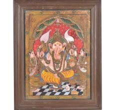 Lord Ganesha His Two Wives Tanjore Painting With Frame
