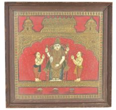 Traditional Tanjore Painting Of Lord Vishnu With Frame