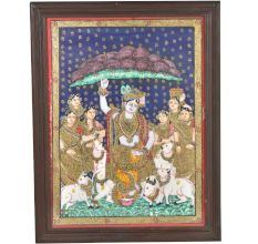 Hindu God Krishna with Goverdhan Parvat Tanjore painting