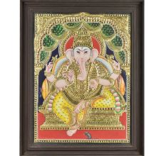 Framed Lord Ganesha in Yellow Dhoti  Tanjore painting