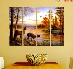 Deer Nature Panting Premium Quality Canvas Wall Hanging