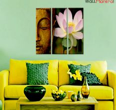 Buddha & Lotus Premium Quality Canvas Wall Hanging