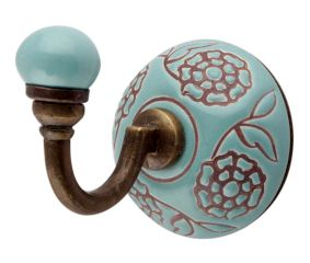 Sea Green Brown Marigold Flower Etched Ceramic Wall Hook