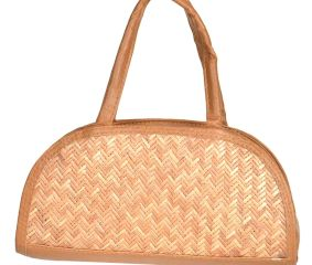 Bamboo Straw Small Semi Circle Sholder Bag
