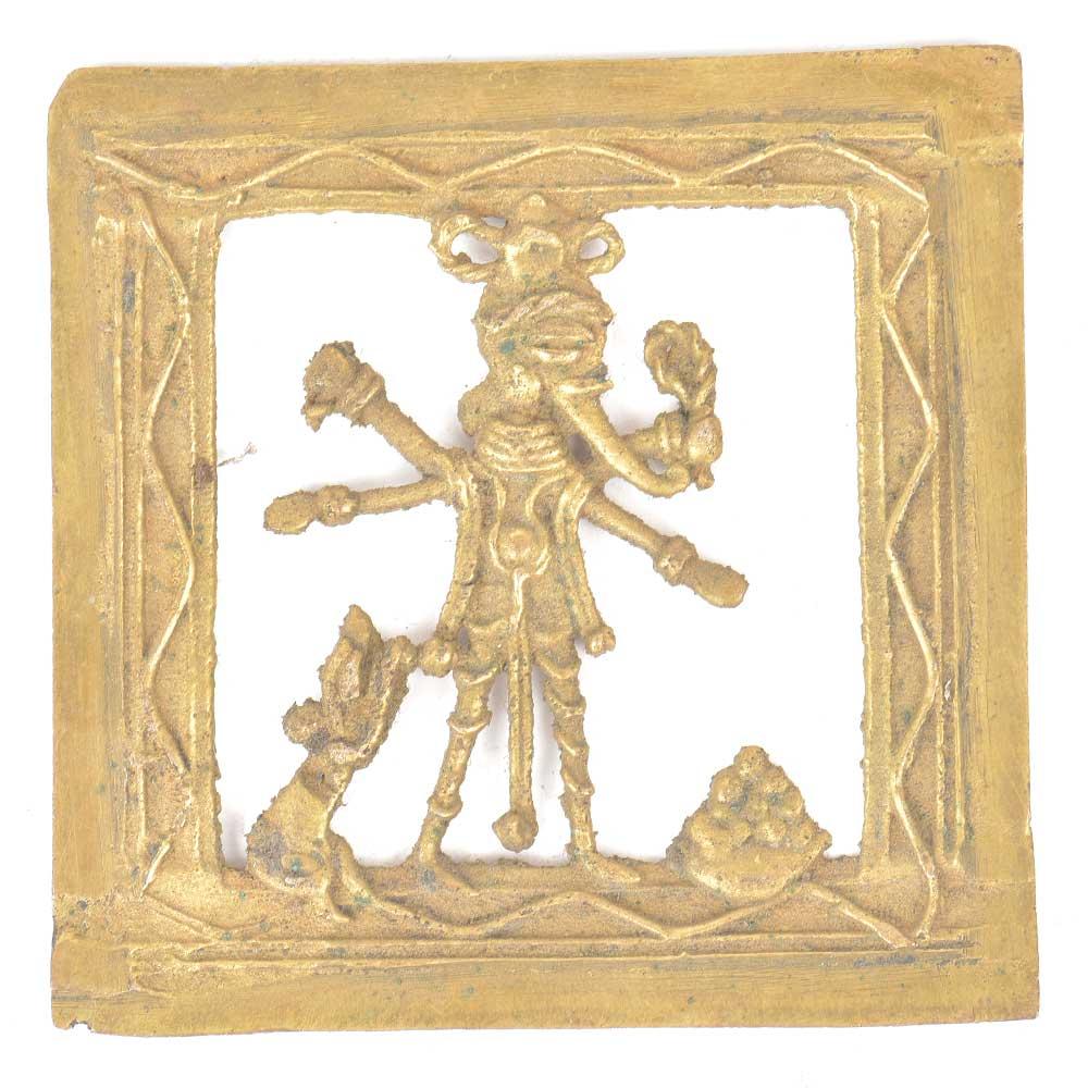 Brass Dhokra Wall Art Hanging Charbhuja Ganesha & Mushak