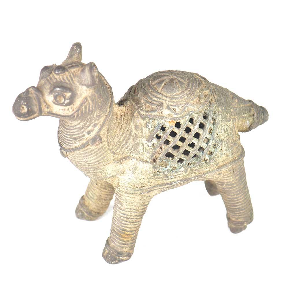 Brass Patinated Camel Incense Stick Holder