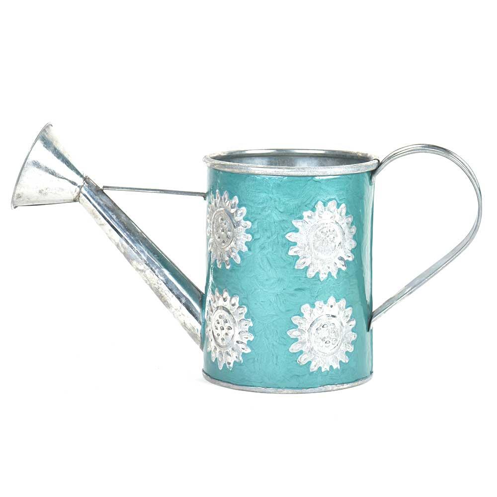 Blue Silver Flowers Engraved Watering Metal  Can
