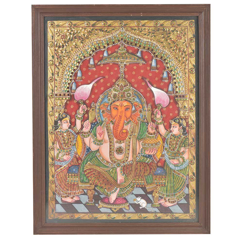 Ganesha With his two wives Siddhi and Riddhi Tanjore Framed Painting