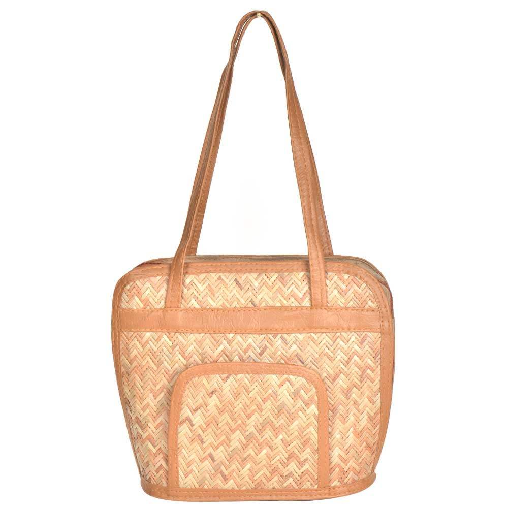 Eco Friendly  Bamboo  Handbag With Pocket And Faux Leather Handle
