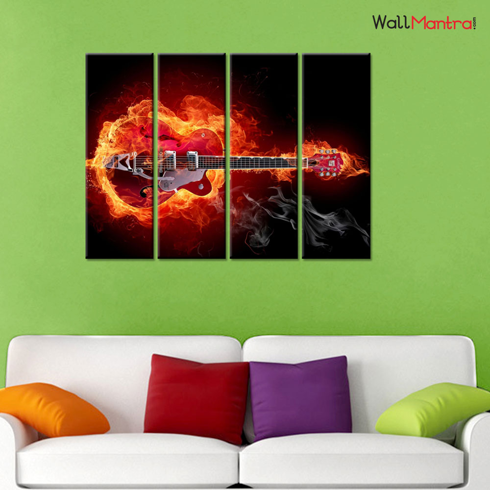 Guitar Premium Quality Canvas Wall Hanging