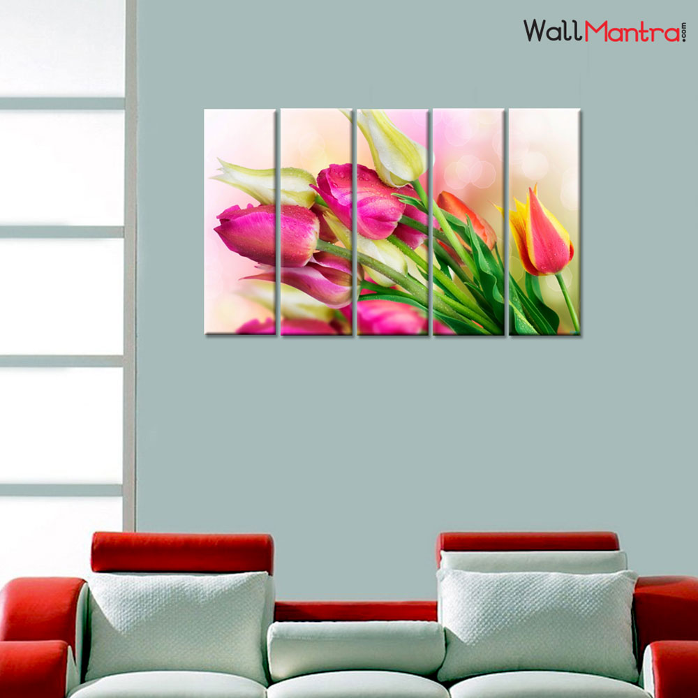 Nature Tulips Premium Quality Canvas Wall Hanging
