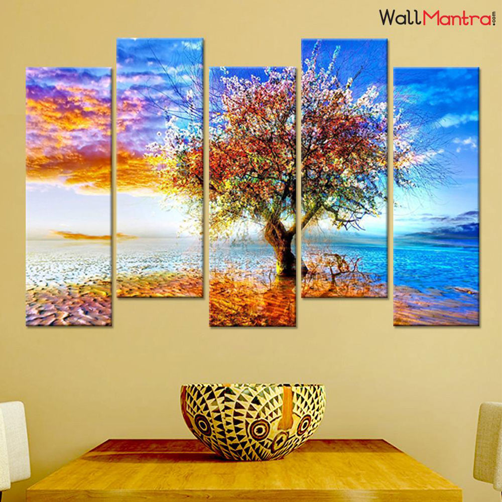 Abstract Color Tree Premium Quality Canvas Wall Hanging