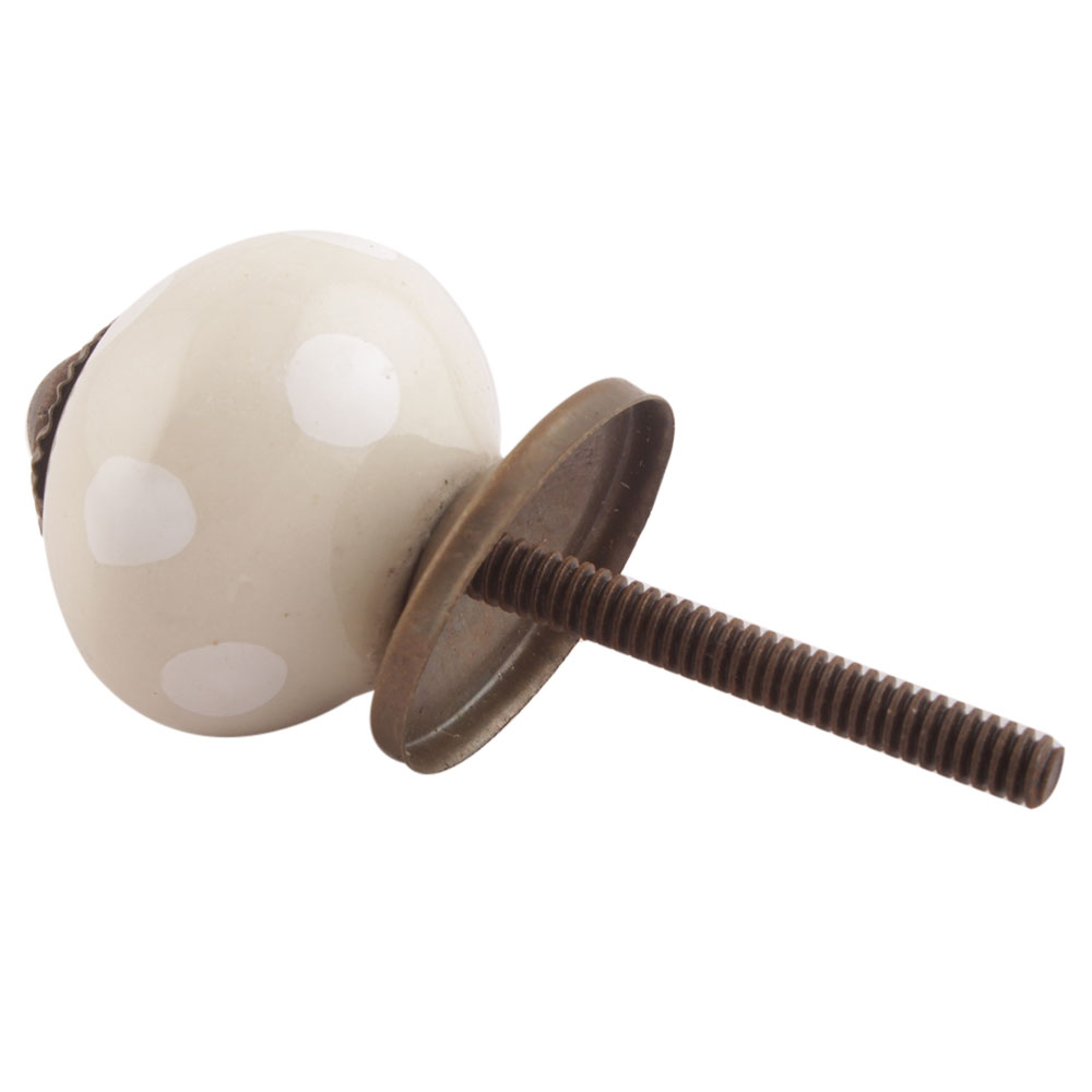 Cream Dotted Small Ceramic Drawer Knobs Online