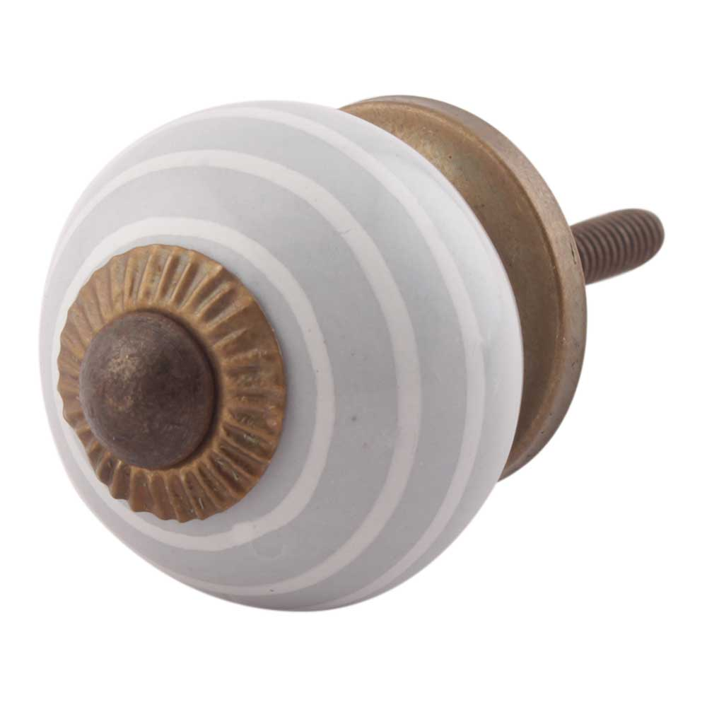 Grey Striped Small Ceramic Drawer Knobs