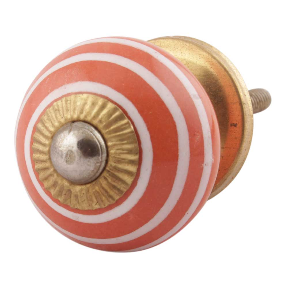 Orange Striped Small Ceramic Dresseer Knobs