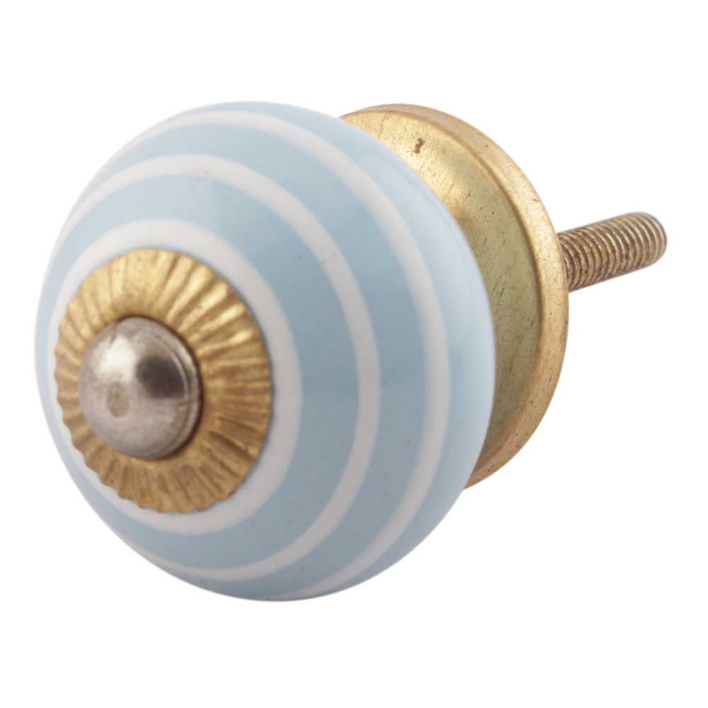 Turquoise Striped Small Ceramic Drawer Knobs Online