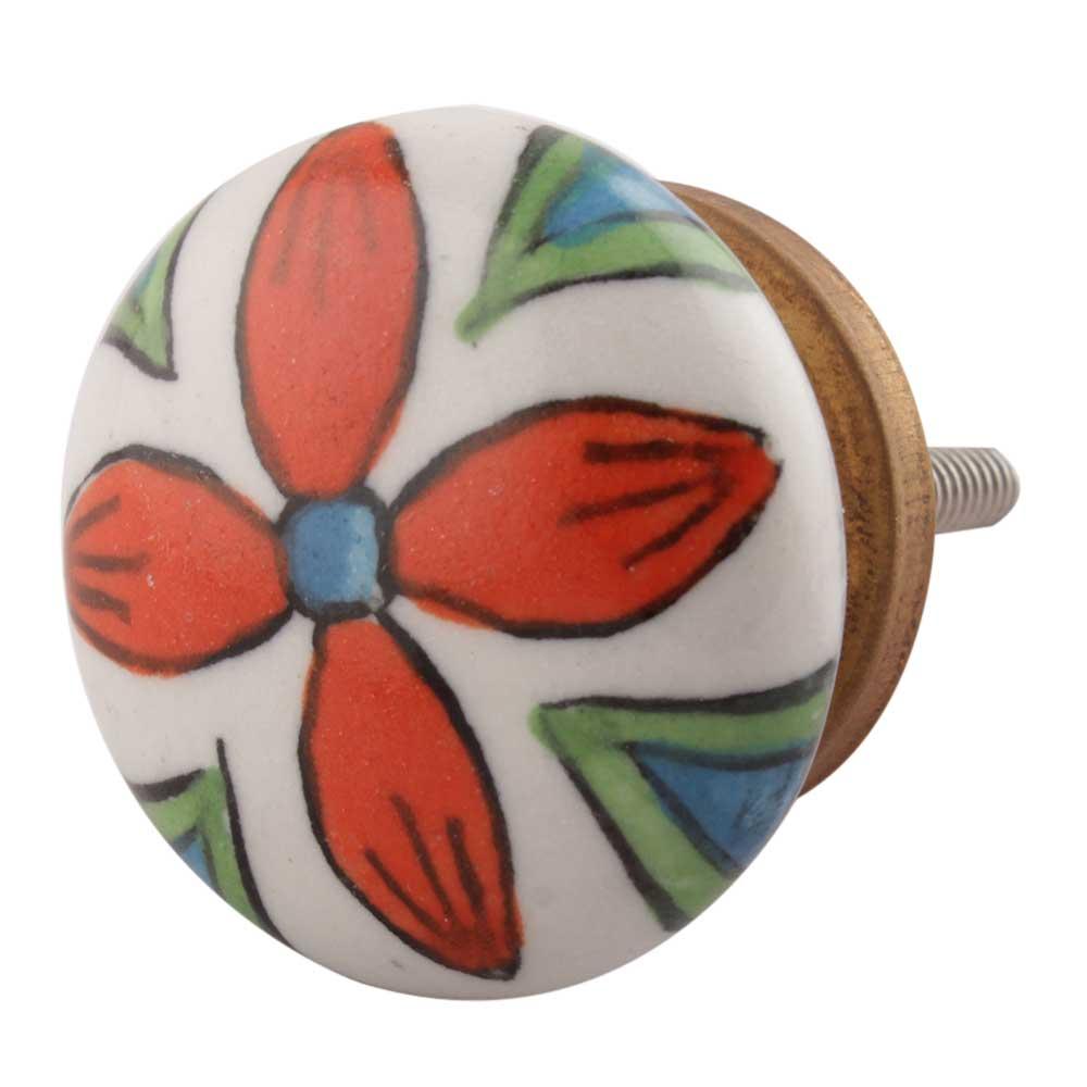 Orange Leaf Floral Knob