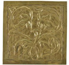 Vintage Floral Vines In Pot Engraved Wall Plate