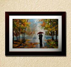 Couple Under An Umbrella Wall Painting