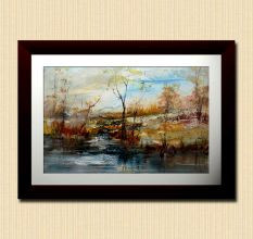 Abstract Trees And River Wall Painting