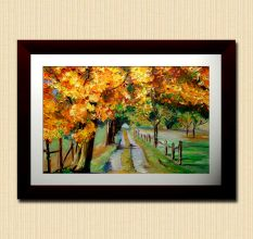 Abstract Way Side Trees Wall Painting