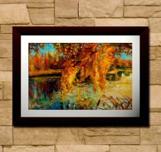 Abstract Trees Over Lake Wall Painting