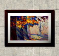 Abstract Trees Trunks Wall Painting