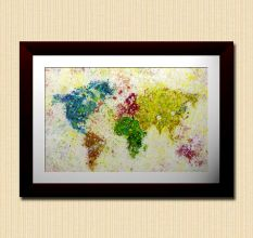 Colorful World Map Wall Painting