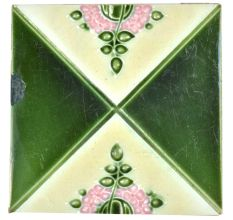 Green & Cream Coloured Ceramic Tile With Flower & Leaves Painted