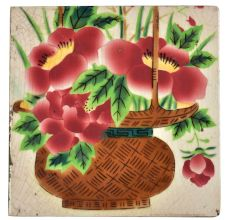 Ceramic Tile With Flower Basket Painted