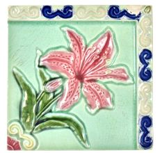 Ceramic Tile With Daffodil Painted