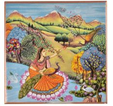 Indian Lady Forest Scene Peacock Ceramic Tile