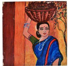 Old Ceramic Tile Indian women carrying Basket of Vegetable