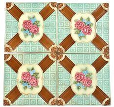 Roses And Border Backsplash Ceramic Wall Tile Set of 4