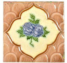 Classic Blue Rose in Border Vintage Tile