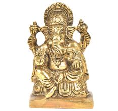 Brass 4 Hand Ganesha Sitting On a Raised Platform