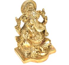 Brass Ganesha Sitting On A Chowki