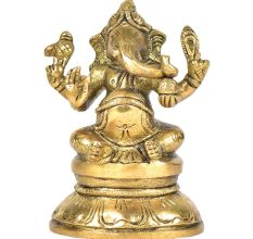 Brass Ganesha Sitting On A Raised Platform