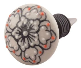 Black With Pink Dotted Ceramic Wine Stopper
