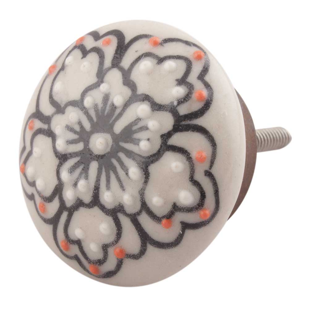 Black With Pink Dotted Ceramic Flat Cabinet Knobs