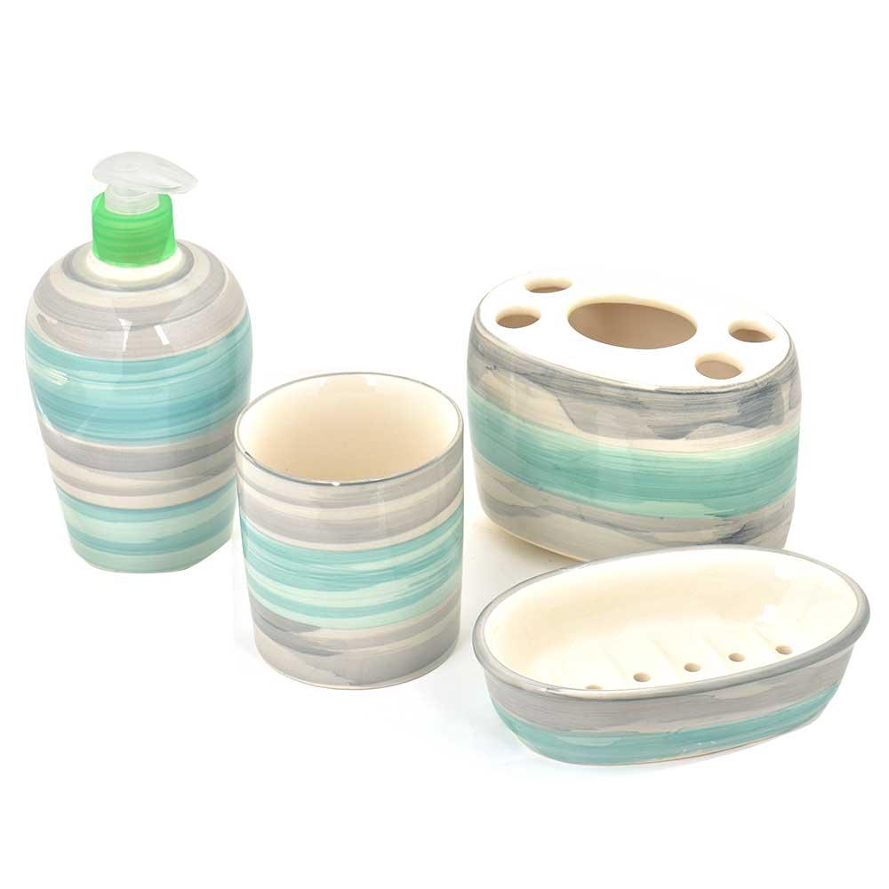 Ceramic Handpainted Bathroom Set of 4