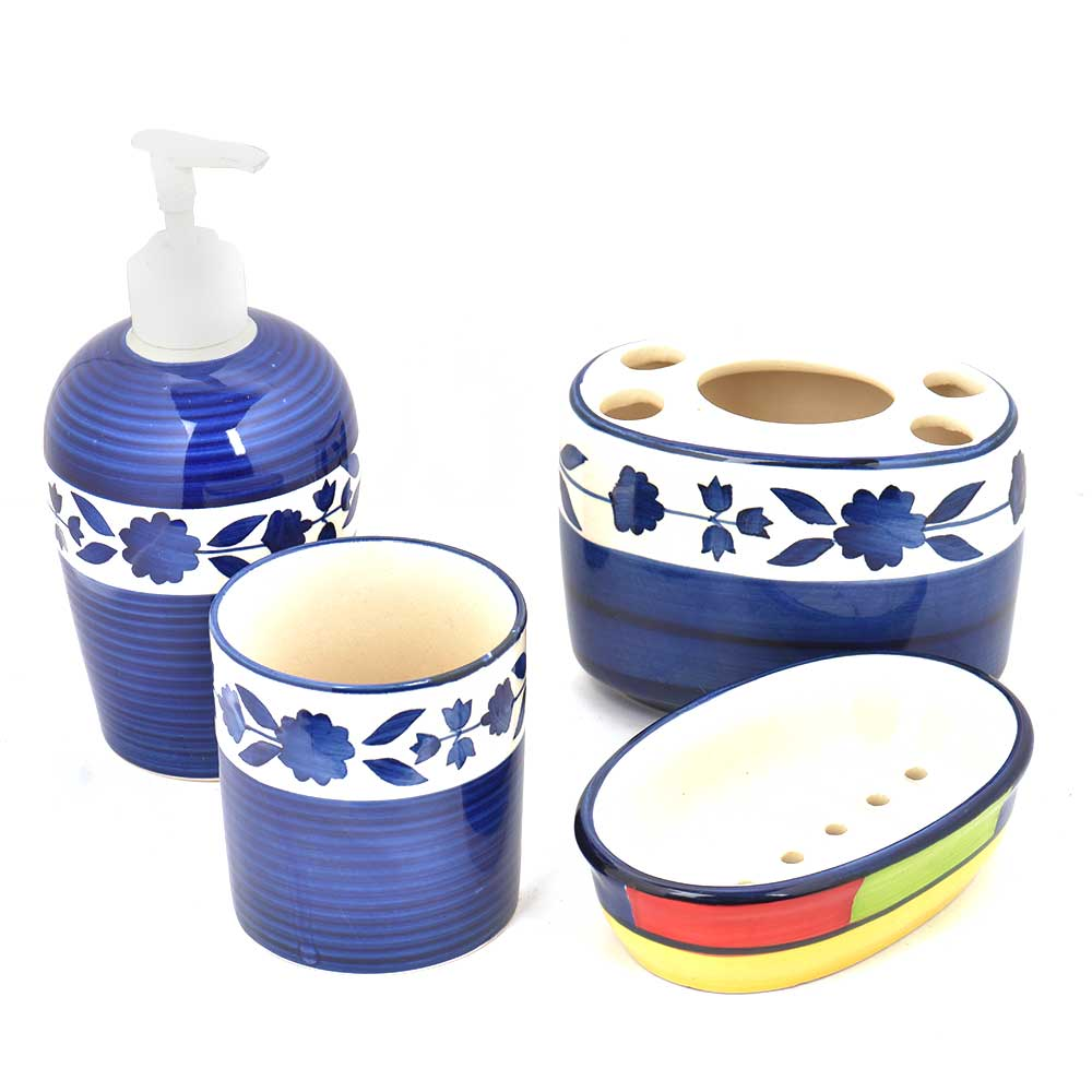 Blue Floral Border Ceramic Handpainted Bathroom Set of 4