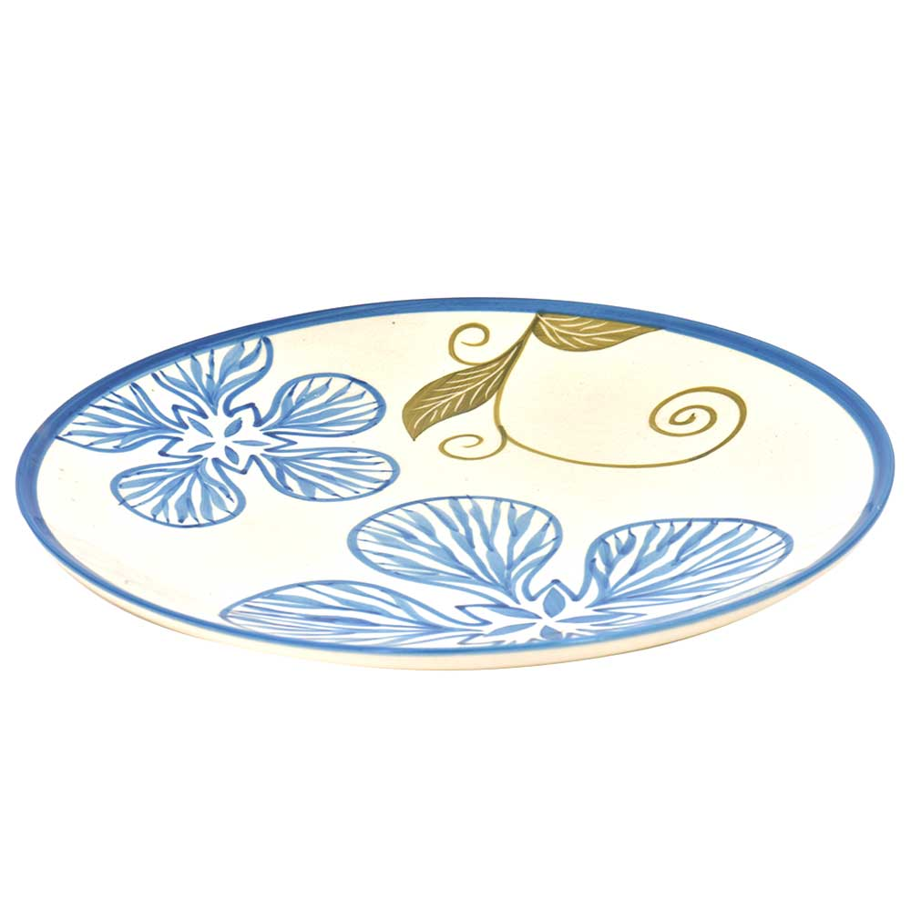 Handpainted Ceramic Floral Plates Set of 2